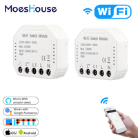 DIY Smart WiFi Light Switch Smart Life/Tuya APP Remote Control 1/2 Way 1 Gang Switch,Works with Alexa Echo Google Home