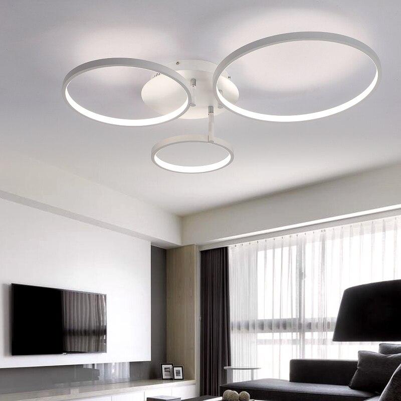 Новое поступление круг кольца дизайнер современные светодиодные потолочные светильники лампы для гостиной спальня дистанционного управл...