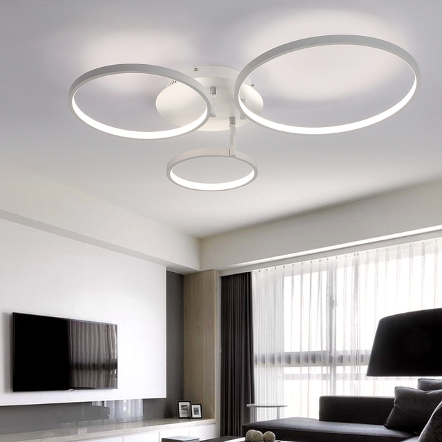 living room ceiling lights modern color ideas 2018 new arrival circle rings designer led lamp for bedroom remote control fixtures