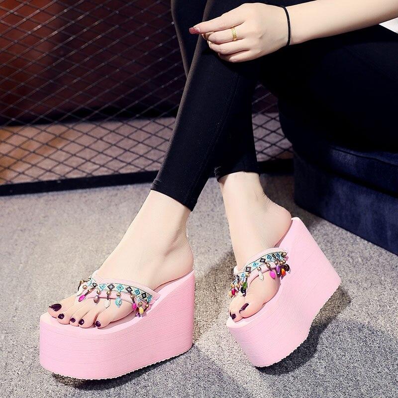 Mode Sandales Bohême Pantoufles Flops forme Diapositives Haute Sandale Frange Plate Femmes Talons Ethniques Wedge Flip Super Gland Ashwin qYIfwAzgxn