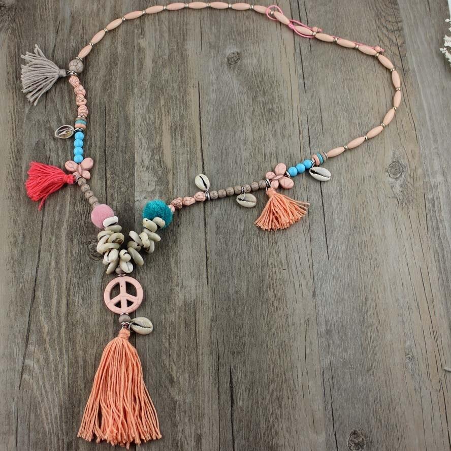 2016 New Fashion Rainbow Tassel Peace Turquoise Pendant Bohemia Style Handcraft Jewelry String Long Necklace Bride