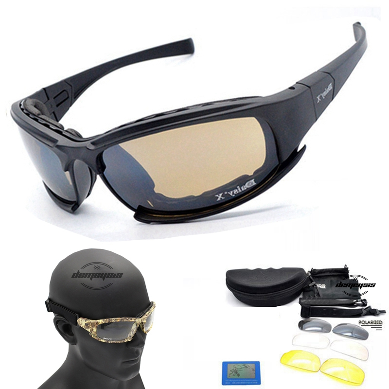 Polarized D A I S Y. X7 Army Sunglasses, Military Goggles 4 Lens Kit, War Game Tactical Outdoor Mens Glasses