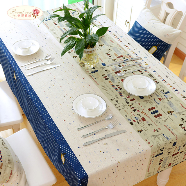 Proud Rose Mediterranean Style Cotton Linen Table Cloth European Linen Tea Table  Cloth Household Rectangle Printed