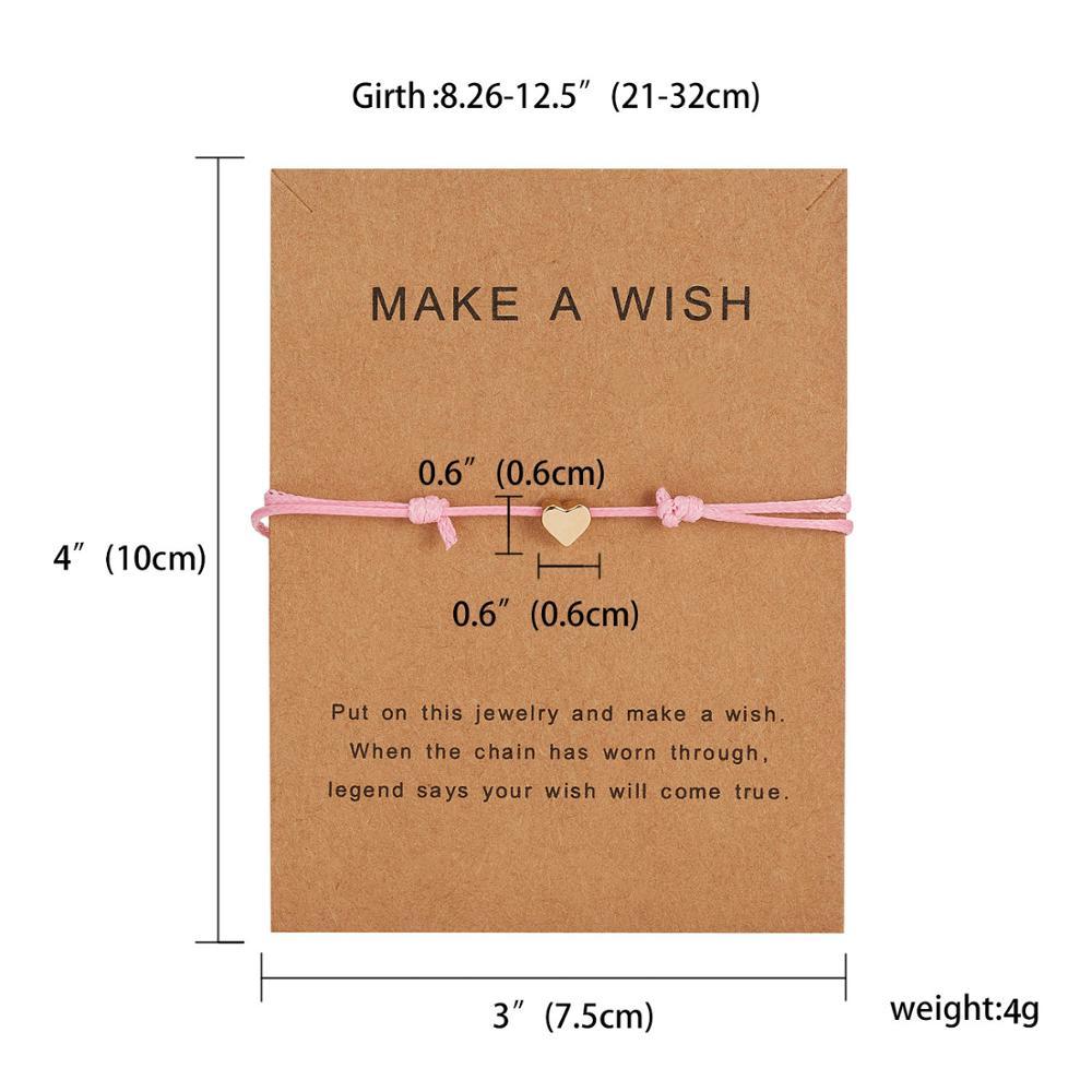 Браслет Wish Card, регулируемый, ручной, плетеный, женский, минималистичный, сердце, корона, круглая нить, Ehthic, браслет, Модные женские ювелирные изделия