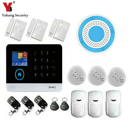 YobangSecurity GSM Wifi Wireless Network WIFI 2-in-1 Touch Screen Keypad Portable Auto Dialer Diy Home Security System wireless smoke fire detector for wireless for touch keypad panel wifi gsm home security burglar voice alarm system