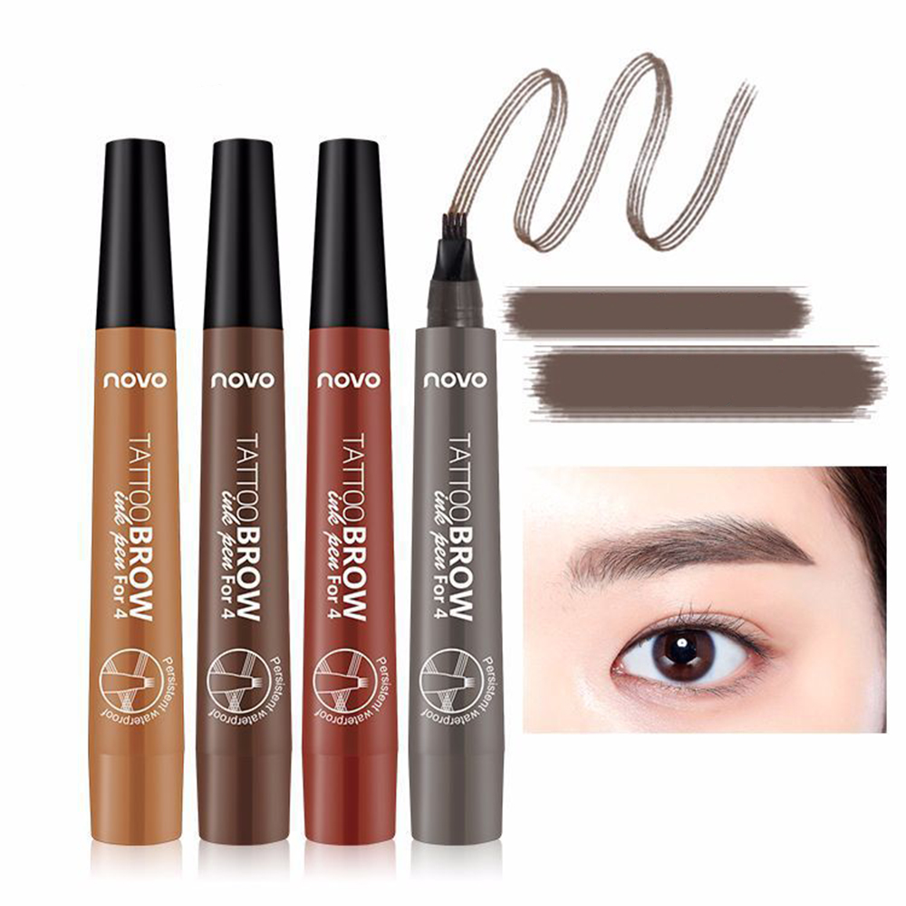 3d Micro Aliexpress Buy 4 Colors 3d Micro Fork Tip Eyebrow Tattoo Pen 4 Head Waterproof Quick Drying Fine Sketch Liquid Eyebrow Enhancer Dye Tint Pen