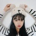Harajuku зимние шапки для женщин 2017 корейский стиль kawaii новый личность крышка осень симпатичный мишка плюшевый теплая вязаная шапка женщины
