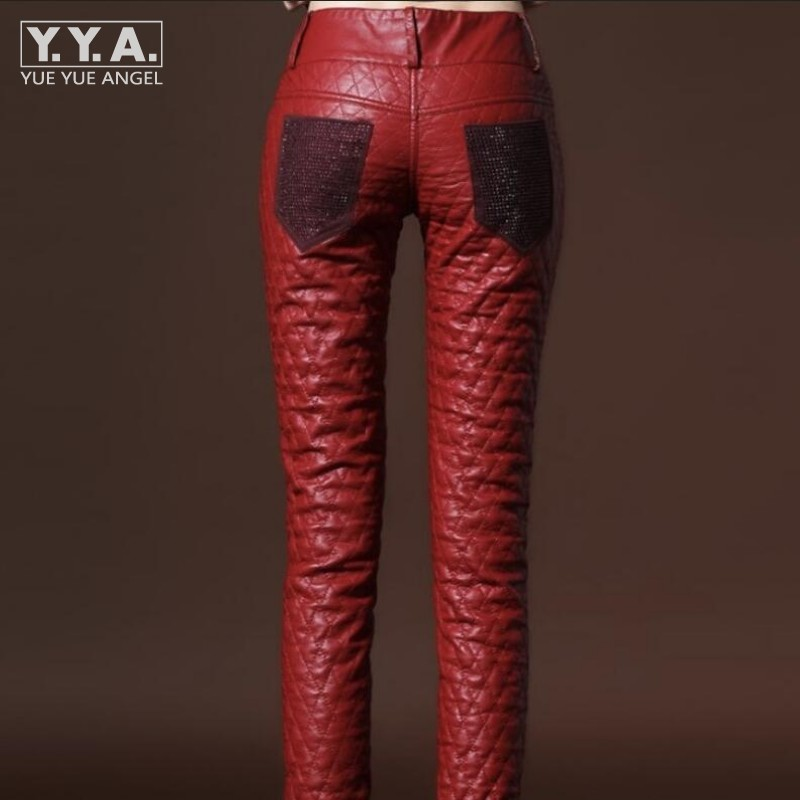 De black blue Cuir Mode Faux Leggings Pu En Pantalon Femmes Hiver Femelle Skinny Chaud Nouveau Red Fit Chic Slim f61qTZwAx
