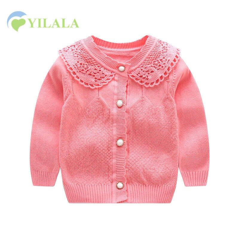 Čipka Dívčí Dívky Svetr Bavlna Knit Dětské Cardigan Dlouhý - Oblečení pro miminka