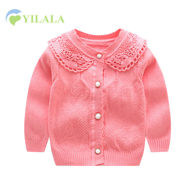 42e79ee8e Lace Baby Girls Sweater Cotton Knit Infant Cardigan Long Sleeve O ...
