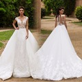 Luxury Ball Gown Lace Wedding Dresses 2017 Sexy Backless Embroidery Spaghetti Straps Bride Dress With Belt Vestido De Noiva