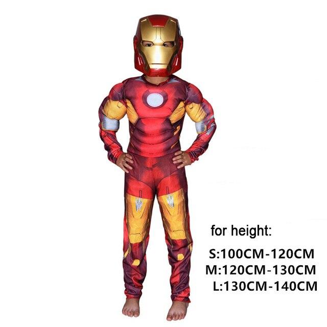 ac40ccd3f2b Natal Meninos Muscular Super Herói Capitão América SpiderMan Batman Hulk  Vingadores Fantasias e Cosplay máscara para