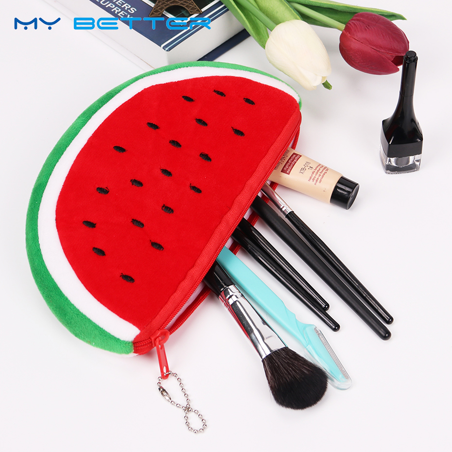 Fashion Women Cosmetic Bag Watermelon Plush Zipper Make UP Pouch Bag for Travel Necessary Storage Bag drawing strap design gadgets storage nylon bag pouch set watermelon red 4 pcs