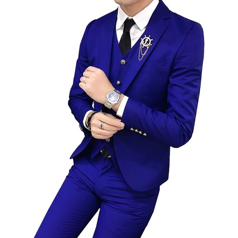 Erkek Kıyafeti'ten T. Elbise'de Düğün ziyafet erkek takım elbise üç parçalı set ince tasarım erkek takım elbise ceket pantolon ve yelek Asya boyutu S XXXL erkek takım elbise Blazer'da  Grup 2