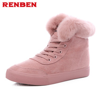 Women Snow Boots Winter Warm Fur Ankle Boots Couple Thick Sole Cotton Shoes Woman Flats Anti