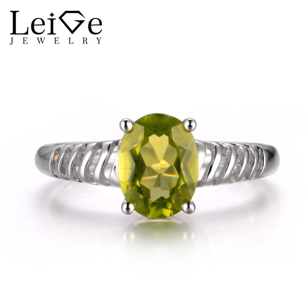 LeiGe Jewelry Natural Peridot Gemstone Oval Cut Prong Anniversary Rings Wedding Bands For Woman August Birthstone 925 SilverLeiGe Jewelry Natural Peridot Gemstone Oval Cut Prong Anniversary Rings Wedding Bands For Woman August Birthstone 925 Silver