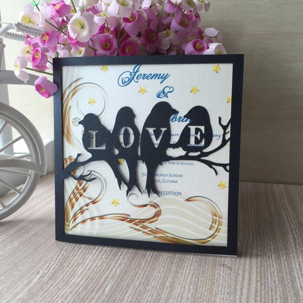Printing Wedding Invitation Envelopes At Home: 50Pcs/lot Laser Cut Love Birds Marriage Wedding Invitation