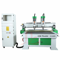 wood engraving machine cnc router 1325 double head 3200W spindle PCB cutting