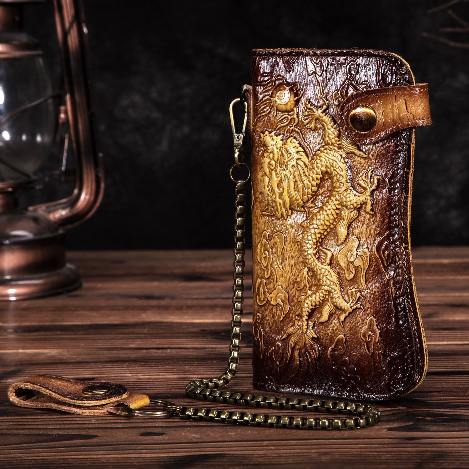 Cattle Male Genuine Leather Dargon Tiger Emboss Fashion Checkbook Iron Chain Organizer Wallet Purse Design Clutch Handbag 1088
