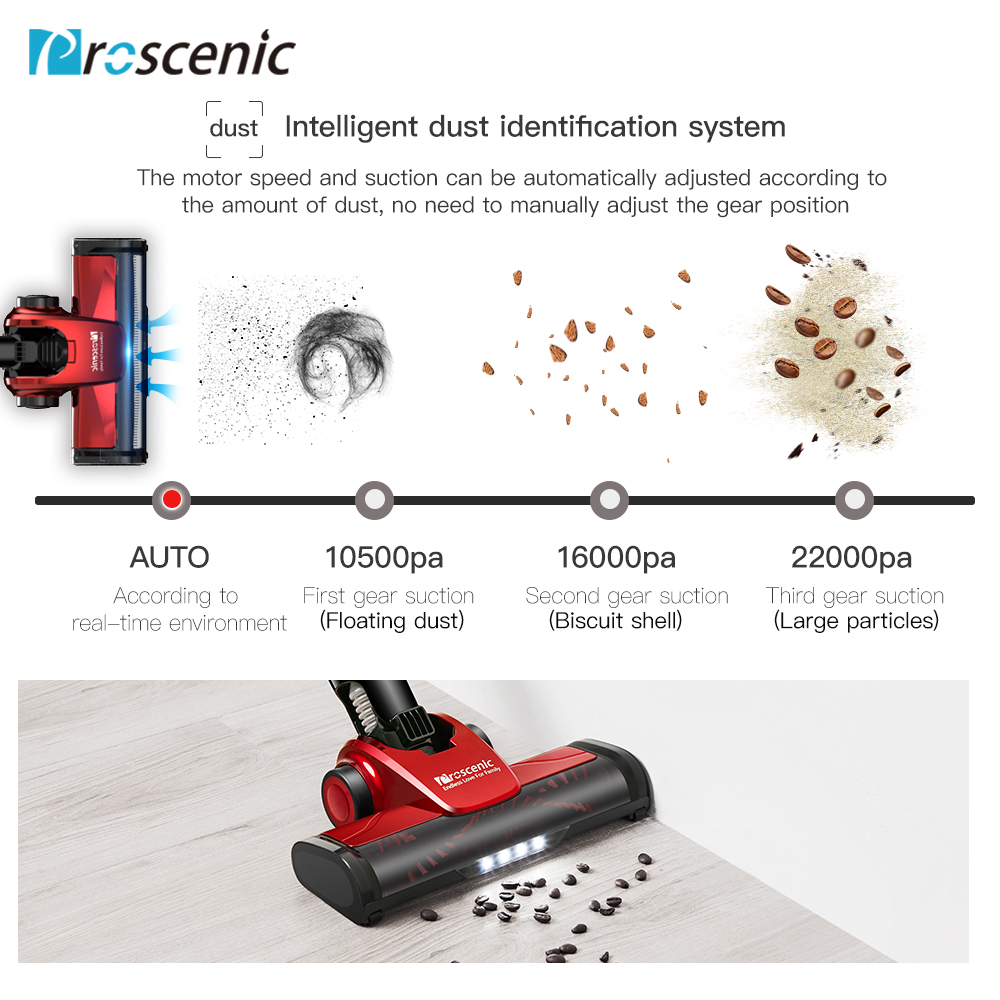 Proscenic I9 Cordless Vacuum Cleaner Stick and Handheld Vacuum with 22Kpa Powerful Suction & Wall-Mount, 45-Minute Lasting Time