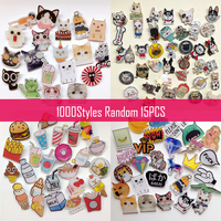 1000 Style Random 15Pcs Kawaii Badge Acrylic Brooch For Women/Man Clothes Badge Decorative Rozet Collar Scarf Lapel Pin Broach
