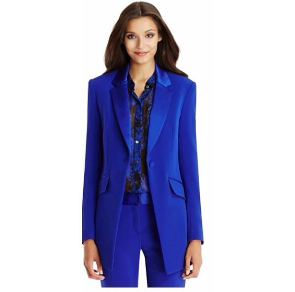 Autumn Winter Office Lady Blazer Women's Jacket Basic Elegant Ladies Office Royal Blue Pant Suits Two Piece Custom Made Suit