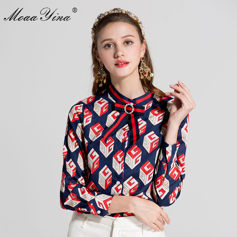 MoaaYina Designer Runway Plus size 3XL Shirt Spring Women Long sleeve Turn down Collar Bowknot Beaded