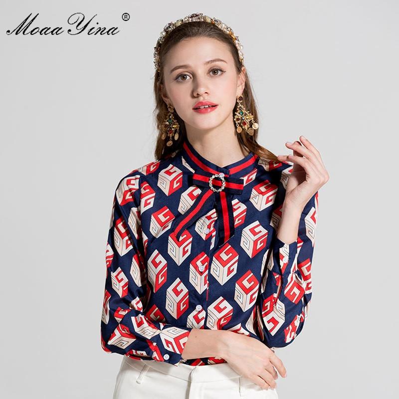 MoaaYina Designer Runway Plus size 3XL Shirt Spring Women Long sleeve Turn down Collar Bowknot Beaded