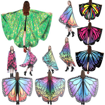 NEW Soft Fabric  Wings Shawl Fairy 2018 New arrival Women Ladies Nymph Pixie Costume Accessory Ponchos Costume