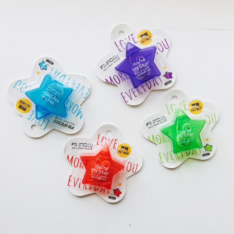 5 Meters Cute Kawaii Colorful Star Pentacle Pentagram Correction Tape Correcting Stationery Corrector School Office Supply