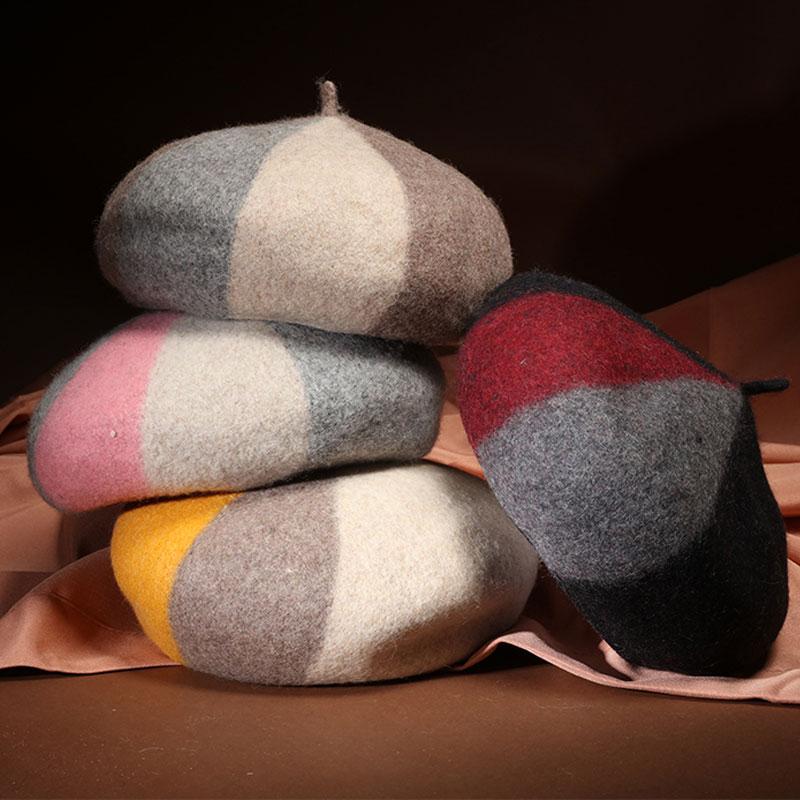 Boina mulheres chapéu boina de lã das mulheres de inverno vermelho preto  mulheres do sexo feminino fd9083c0074