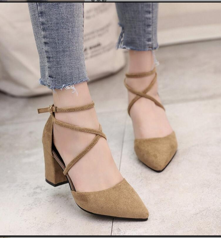 2018  Pointed Toe With High Heels And High Heels With A Pair Of Chunxia Single Shoes Sandalia Feminina