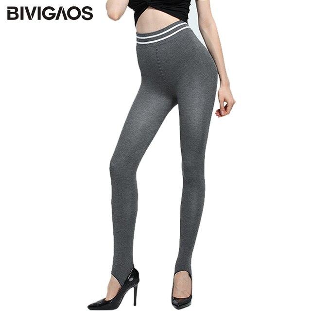 86b736c19f1a30 BIVIGAOS Autumn Winter Ladies Push Up Leggings Elastic Striped Waist Velvet  Thick Casual Workout Leggings Foot