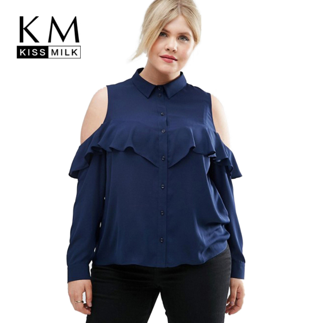 bdaeae364acab Kissmilk Plus Size Women Clothing Cold Shoulder Ruffle Detail Blouse Casual  Long Sleeve Blouse Shirt Big