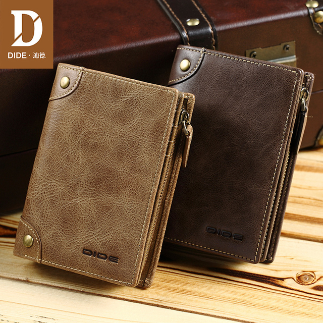 DIDE 100%Top Cowhide Vintage men's Wallets Male Purse Short Genuine Leather Zipper Coin Purse Wallet Card Holder Brand Bag