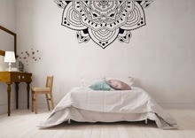 Half Mandala Vinyl Wall Sticker Home Bedroom Decor Bohemian Style Meditation Decal Mural W427