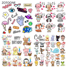 ZOTOONE Animal Set Stripes Iron on Transfer Patches Clothing Diy Patch Heat for Clothes Decoration Sticker Gifts G