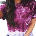 Laisiyi Mulheres Verão T-shirt de Manga Curta Tops Roupas Casuais Projeto do Bolso do Elefante Impressão Colorida T-shirt ASTS100055