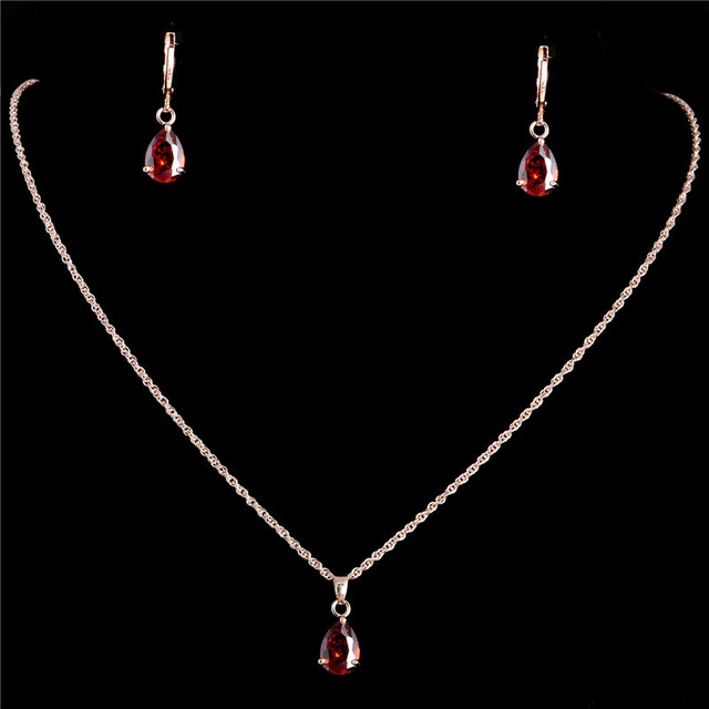 Wedding/Bride noble jewelry Gold Plated Women's/Girl's red CZ Chain Necklace + Earrings Wedding Jewelry Sets Gifts