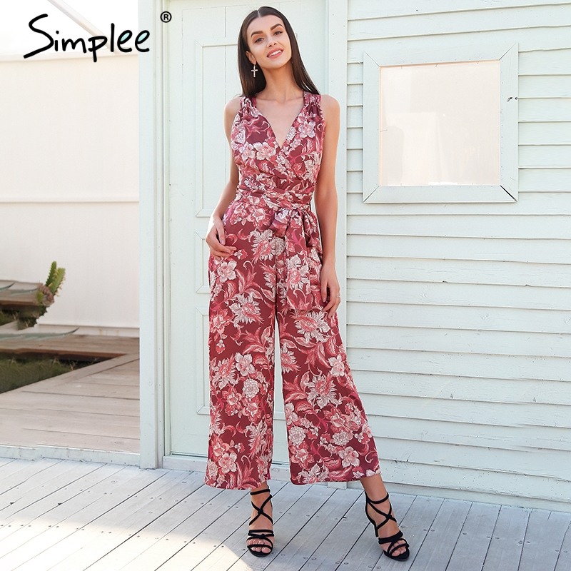 Simplee Boho Floral Print V Neck Sexy Jumpsuit Women Backless Lace Up Casual Jumpsuit Romper 2018 Loose Vintage Summer Jumpsuit