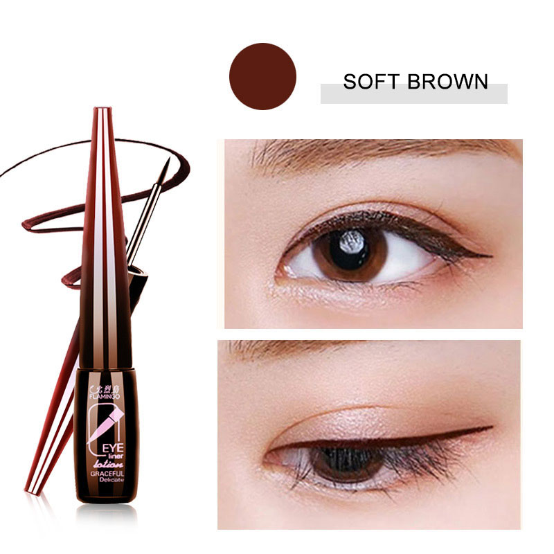 Flamingo Brand Liquid Eyeliner Long-lasting High Quality Makeup Waterproof Eyeliner Cosmetics Natural Brown& Black For Girl 188 image