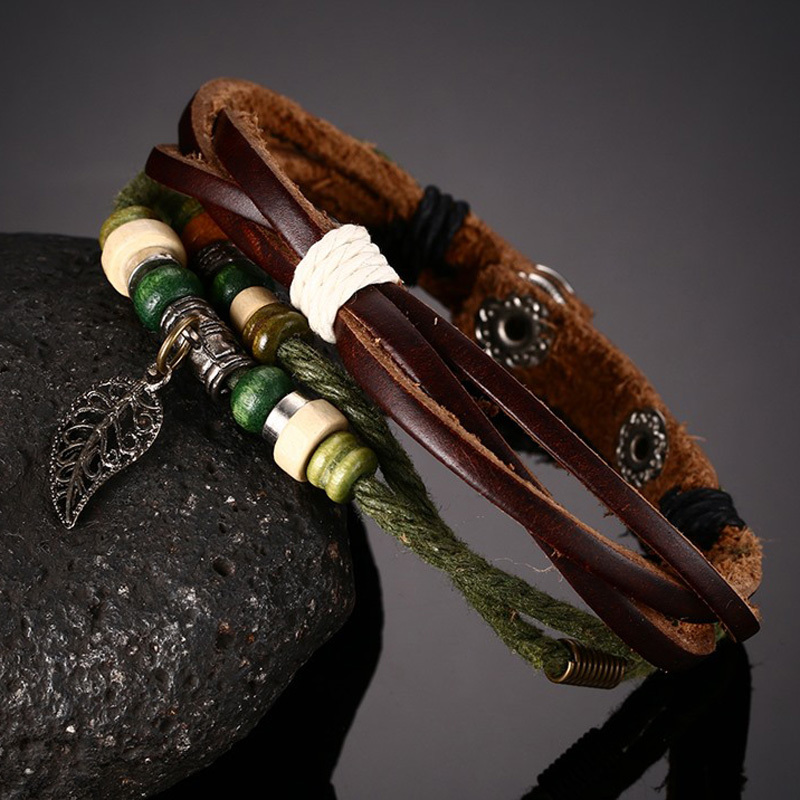 Women Vintage Leaf of National Style Handmade Braided Rope Leather Bracelet in Brown Green Bohemian Jewelry