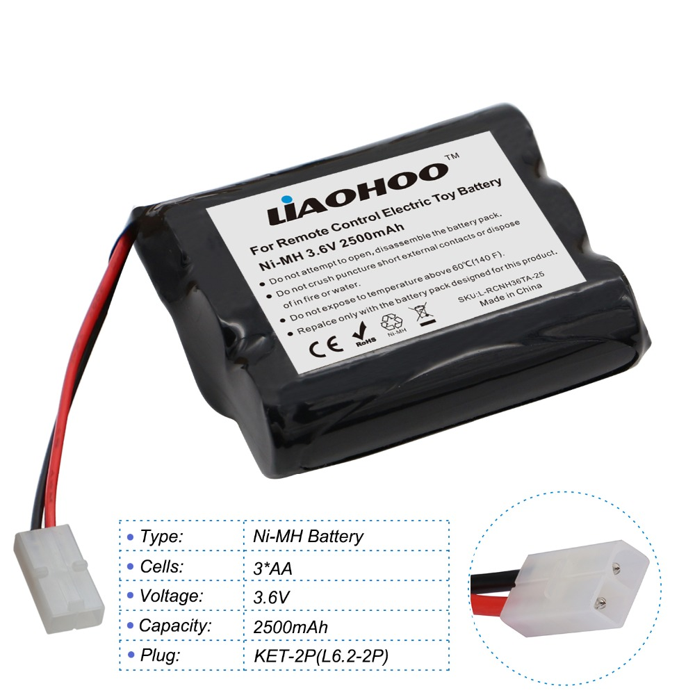 LiaoHOO 3.6V 2500mAh NiMH Rechargeable AA Battery Pack with JST/SM/KET/EL/5557-2P Plug for RC Toy Boat, Water Gun, Truck, Car