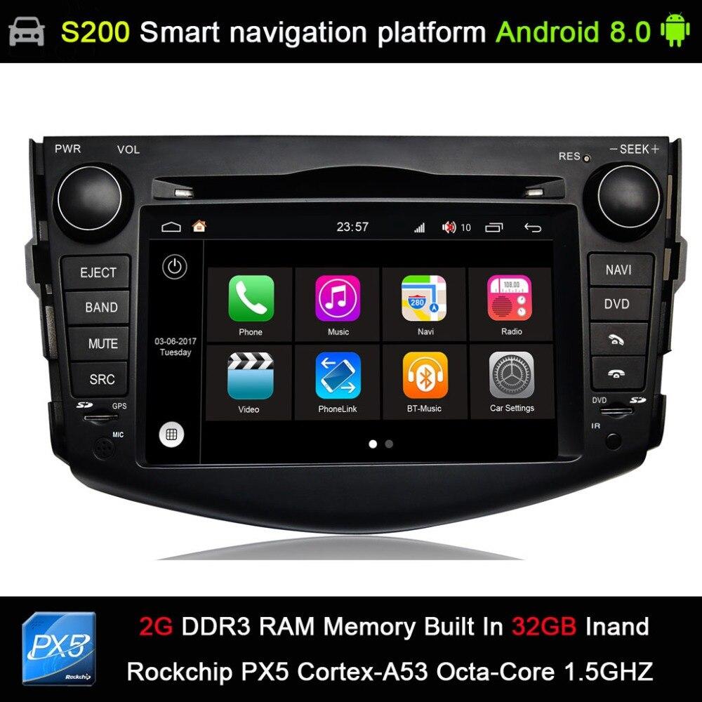 Android 8.0 PX5 Octa 8 cœurs CPU 2G Ram 32 GB Rom voiture DVD Radio GPS Navigation pour Toyota RAV 4 RAV4 2006-2012