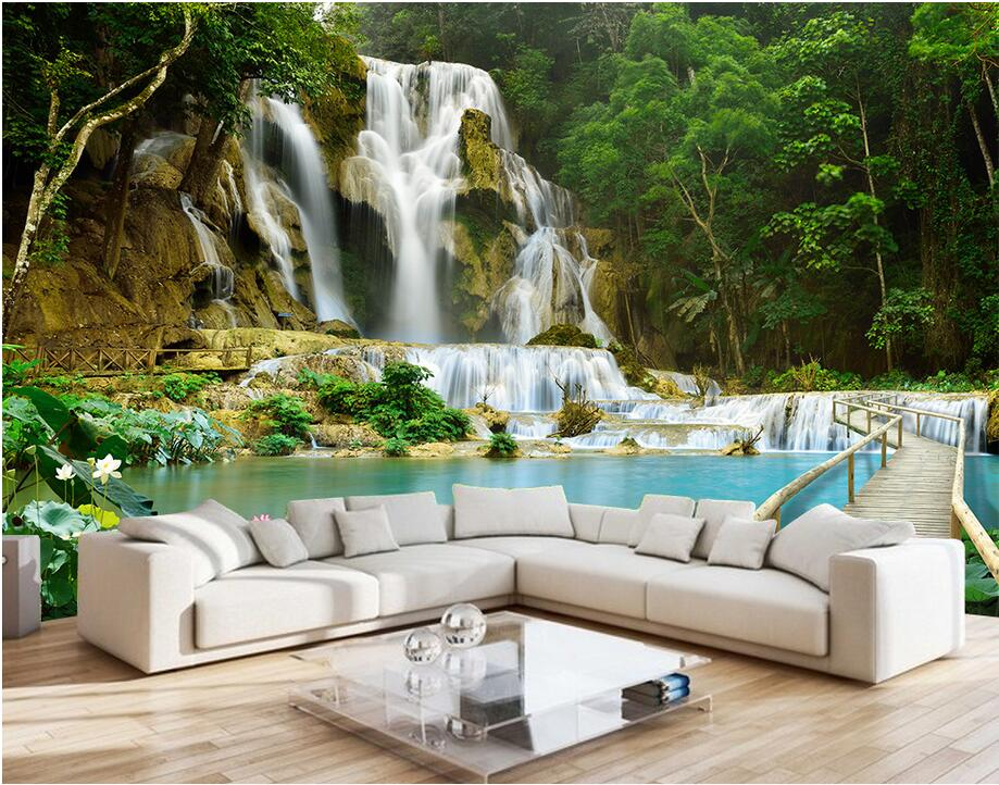 Custom photo Non-woven mural 3d wallpapers for living room Mountain water falls decoration painting 3d wall murals wallpaper ceiling non woven wallpapr home decoration wallpapers for living room 3d mural wallpaper ceiling customize size