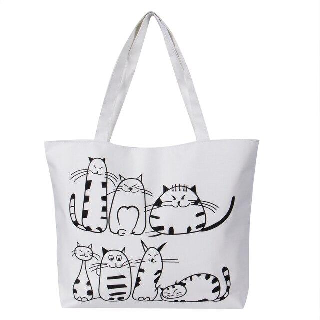 76874eee8b76 Женская Холщовая Сумка с рисунком кота, женская сумка на плечо, большая  емкость, женская