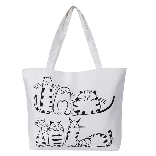 Women Canvas Handbag cartoon Cat Printed Shoulder bag Female Large Capacity  Ladies Beach Bag Women Canvas 03f90d21d7020