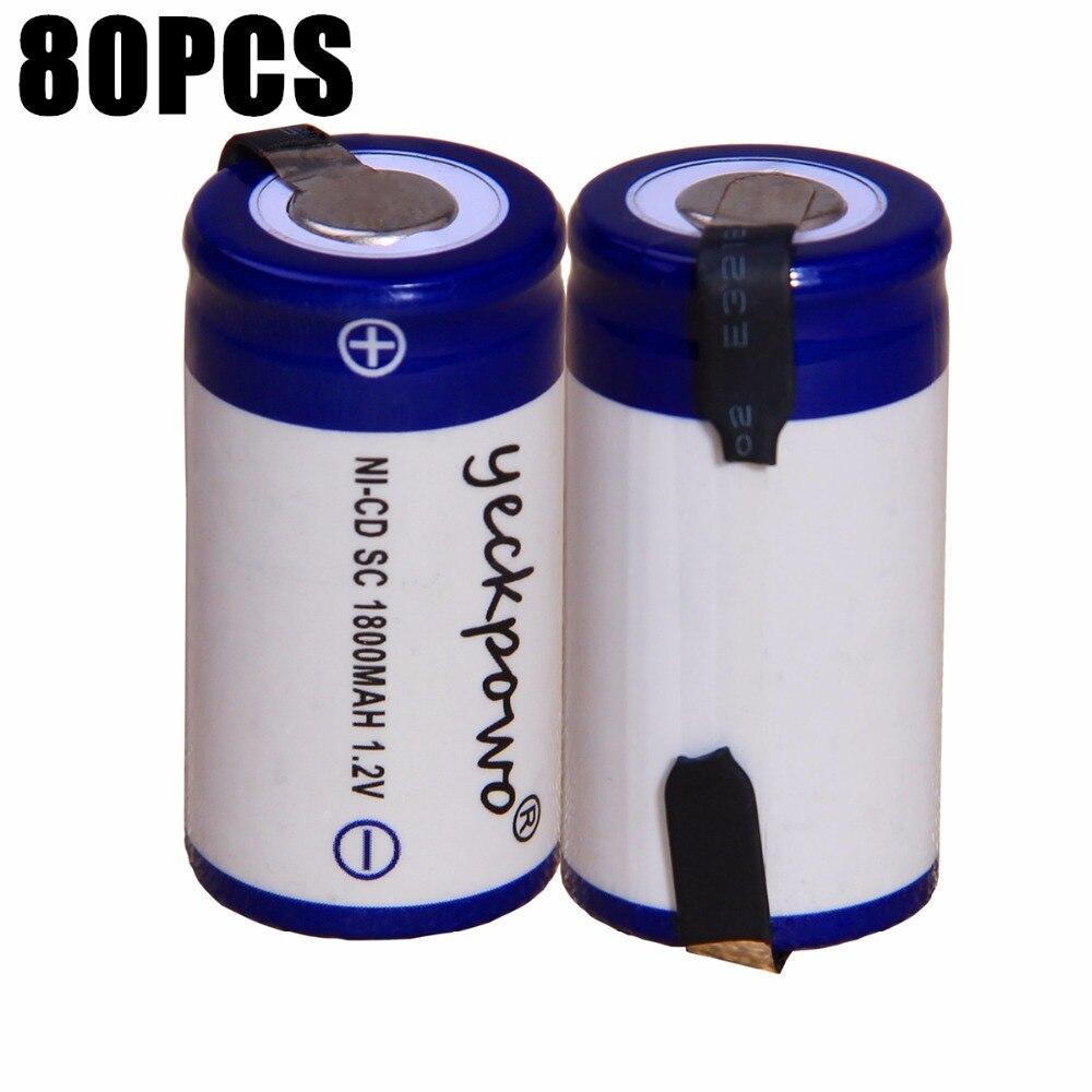 80 шт. SC 1800 мАч 1,2 В аккумулятор NICD аккумуляторные батареи для аварийного освещения игрушка оборудования мощность 4,25 см * 2,2 см для электроинст...