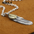 Vintage Golden eagle feathers inlaid copper pendants 925 sterling silver jewelry for women pendant silver 925 Fashion jewelry
