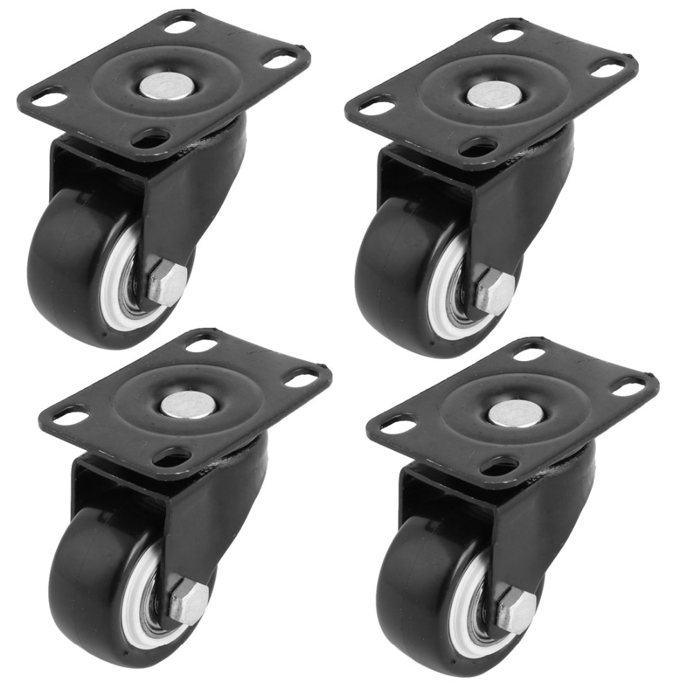 uxcell 4PCS Trolley Swivel Caster, Top Plate, 1.5 Inch Polyurethane Wheel, Double Ball Bearing Hot Sale uxcell a11102700ux0090 2 inch wheel trolley stem industrial swivel caster brake gray